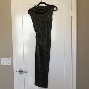 JOSEPH Velvet Olive Green Asymmetrical Dress Small